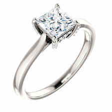 Semi Mount Setting 14k White Gold Princess Diamnd Engagement Solitaire Mounting