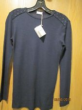 Brunello Cucinelli Navy Crew Neck Studded Pull Over TopSize M