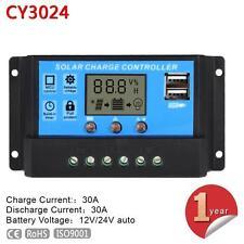 LCD 30A 12V-24V PWM Solar Panel Battery Charge Controller Regulator For Light MT