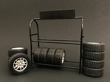 AMERICAN DIORAMA 1:18 METAL TIRE RACK WITH WHEELS AD-77518