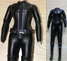 1/6 Female Black Stretch Tight Leather Suit Can DIY Catwoman Action Figure