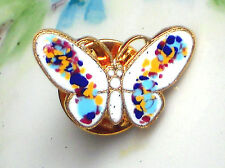 #1472G Vintage Butterfly Pin Guilloche Enameled Enamel Hand painted Floral Gold