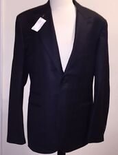 Authentic Hermes Mens Navy Blue Suit 24 Col Pointu Silk Wool Blend Size 48 NEW
