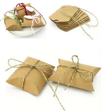 100 x Craft Kraft Paper Pillow Wedding Favors Chocolate Candy Boxes Gift Box