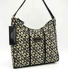 TOMMY HILFIGER AUTHENTIC BLACK/BEIGE TH SIGNATURE HOBO BAG HANDBAG PURSE NWT