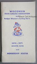 Wisconsin State Curling Assoc /Badger Women's 1970-1971 Bonspiel Dates/Roster
