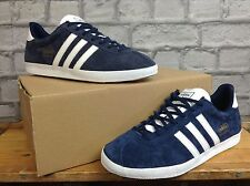 ADIDAS UK 8 INK DARK BLUE WHITE SUEDE GAZELLE OG TRAINERS PERFECT TO RE DYE