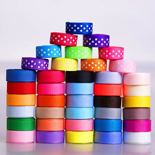 "40YARDS mix 40 style 3/8"" 9mm dot solid bow infant kids grosgrain ribbon lots"
