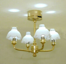 Dollhouse Battery Operated Lighting Hanging Lamp Four Arm 1:12 Miniatures
