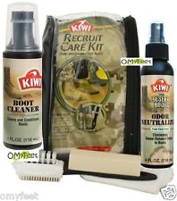 KIWI Military Recruit Suede Boot Odor Care Kit Cleaner Neutralizer Brush Cloth