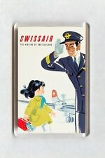 Vintage Air Travel Poster Fridge Magnet - Swissair The Airline of Switzerland 2