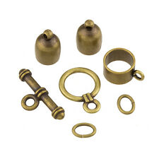 6mm Bullet Kumihimo Findings Set - Antique Brass Plate (K26/7)
