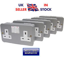 Metal Clad Double / Twin Electrical Switch Socket 13amp x5