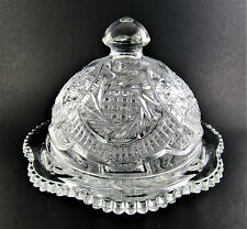 VINTAGE CRYSTAL CUT GLASS ROUND BUTTER DISH WITH LID  (E57)