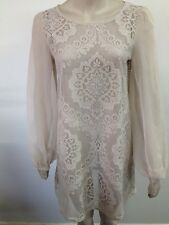 Next Runway Collection - Cream 60s Look Long Sleeve Sheer Dress - Uk S (T582)