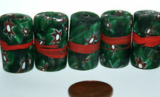 5 X red banded green millefiori beads Star beads