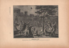 1903 ASTRONOMY GERMAN PRINT ~ LUNAR ECLIPSE IN PERU RELIGIOUS CEREMONIES