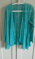 LACE WATERFALL CARDIGAN TOP BLOUSE NWT TURQUOISE  SIZE 8 BEAUTIFUL LIGHT LACE