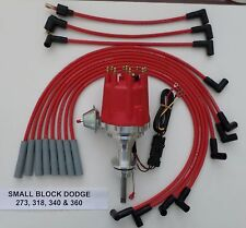 smalL cap SMALL BLOCK DODGE 318 340 360  RED HEI Distributor + Spark Plug Wires