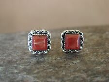 Native American Sterling Silver Square Spiny Oyster Post Earrings