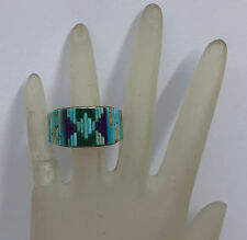 DAVID FREELAND DRF JR STERLING RING TURQUOISE CORAL AMETHYST MALACHITE SIZE 8