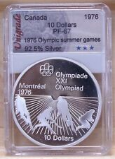 CANADA 1976 OLYMPIC $10 SILVER COIN **No 21** PROOF-67 IN SLAB HOLDER