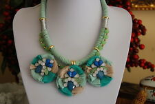 LARGE BOLD GREENS BLUES BIB NECKLACE MATERIAL LEATHER & STONES GOLD TONED CHAIN