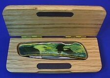 Eagle Collector Knife Stainless Steel Lock Blade Knife with Wooden Display Case