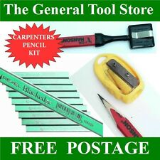 CARPENTERS PENCIL  KIT 10 REXEL HARD PENCILS, RECOIL BELT HOLDER & SHARPENER