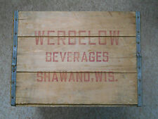 Old Vintage Werbelow Beverages Shawano Wisconsin Wooden Bottle Crate Box Soda