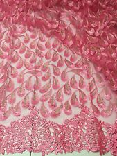 "PINK GOLD EMBROIDERY RHINESTONE MESH BRIDAL LACE FABRIC 52"" WIDE 1 YARD"