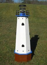 "36"" Solar lighthouse wood decorative lawn and garden ornament - blue accents"