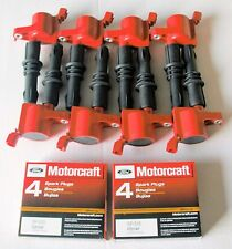 SET OF 8 IGNITION COILS HEAVY DUTY RED DG511 +8 MOTORCRAFT PLUGS SP515