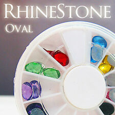Acrylic Oval Shape Nail Art Decal Grade A Rhinestones FREE GLUE NEW ARRIVAL