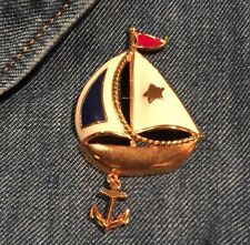 Vintage Jewelry Avon brooch Pin Nautical sailing boating Boat red white and blu