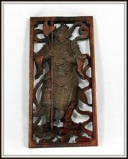 "Incredible!  ""Hand Carved Chinese Wooden Panel of a Samurai"" (15.5"" H x 7.75"" W)"