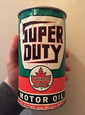 RARE SUPERTEST SUPER DUTY MOTOR OIL TIN CAN IMPERIAL QUART SIGN CANADA