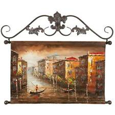 Oil Painting On Canvas Tapestry With Metal Rods 26/18- Venice Canal with Gondola