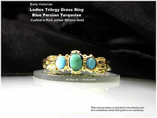 18ct Gold Turquoise Trilogy Ring Blue Persian Turquoise Early Victorian UK Q