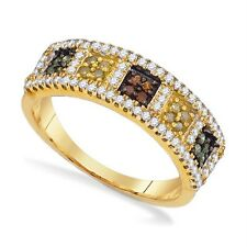 Wow! 100% 10K Yellow Gold Multi-Colored Diamond Square Cluster Ring Band .50ct