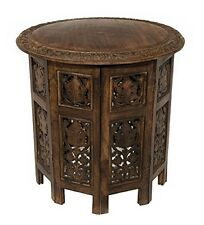Small Round Table Wooden Side Accent Coffee Hand Carved Mango Wood 18 in Brown