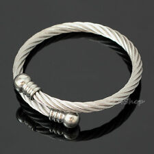 Men's Women's 316L Stainless Steel Twisted Cable Adjustable Cuff Bangle Bracelet