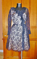 Vtg 1960s 60s  ILLUSION Black Lace Nude Satin Ruffle Wrap Cocktail Party DRESS