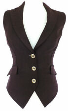 Sexy AUBERGINE HERRINGBONE TAILORED WAISTCOAT Top VICTORIAN Steampunk WORK 8 NWT