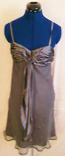 Miss Posh silver satin lined strappy party dress. ruffle front design Size 8/10