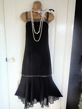 Beaded 1920's 30's flapper style dress UK 16 US 12 EU 44 Great Gatsby Downton