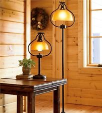 Floor Lamp For Living Room Antique Bronze Finishes Light Amber Glass Shades