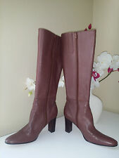 NINE WEST VITTORE Brown Soft Gloves Leather Knee High Boots Block Heel Sz. 8,5 M