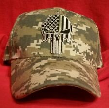 The Punisher Military Green Line U.S.A. Flag Camouflage BASEBALL Cap Swat