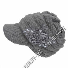 New Fashion Women's Cable Knit Visor winter Hat with Flower Accent gray Color